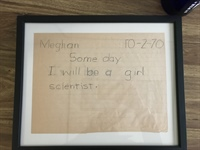 A school assignment Dr. Cronin found at her mother's house points to her early love for science.