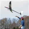 Dumas launching his radio-controlled glider