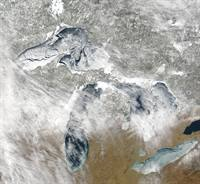 Satellite image of Great Lakes ice cover. March 4, 2009